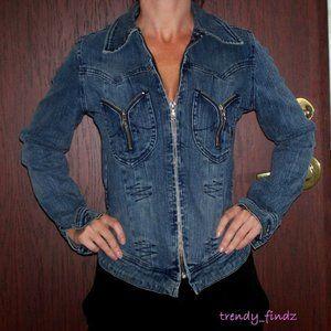 PARASUCO stretch jean jacket denim sz XS NWT!